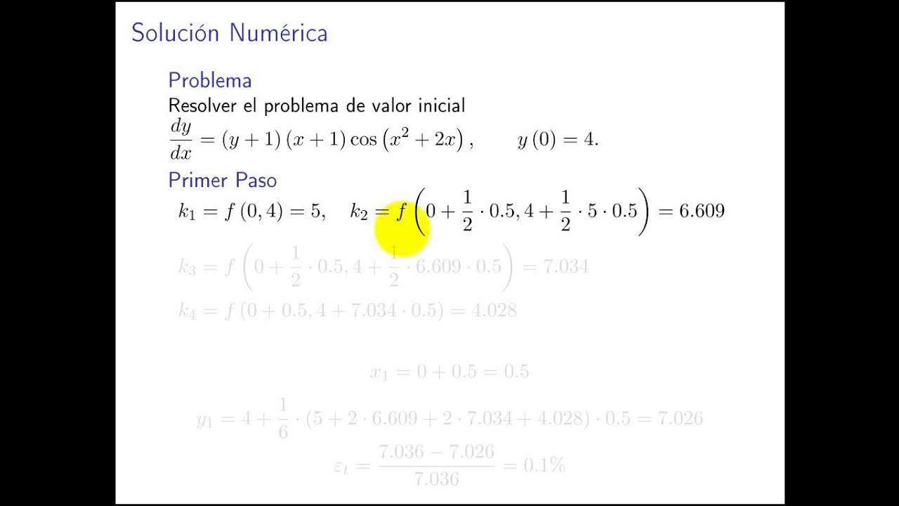 Ejemplo del método de Runge-Kutta de orden 4 - YouTube