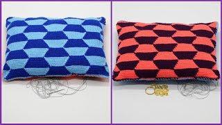 Вязание подушки крючком геометрическим узором. Мастер класс вязания. Часть 1. Crochet pillow. P.1