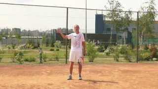 Теннис уроки. Резаный удар слева в растяжке.