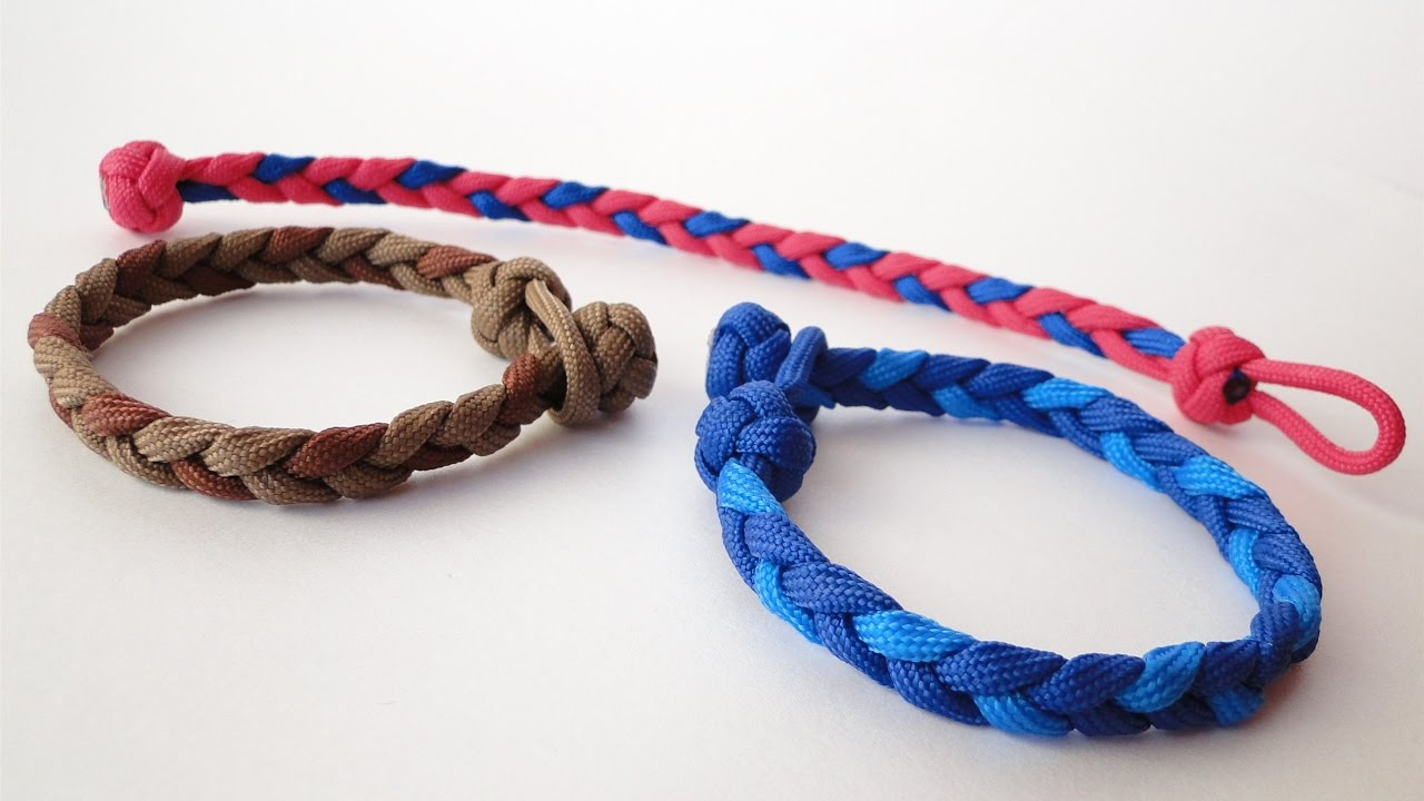 How To Make A Basic 3 Strand Flat Braid Diamond Knot And Loop Without Buckle Paracord Bracelet