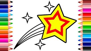 How to Draw Star Shooting Stars Coloring Pages