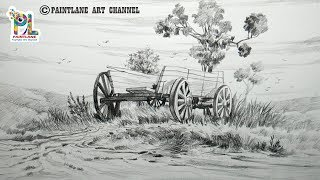 Learn To Draw and Shading Wooden Cart With Easy Pencil Strokes | Pencil sketch Step By Step