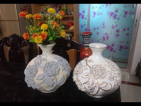 পেপার ক্লে  flower Vase decorations/flower vase decoration ideas with paper clay/ part-2