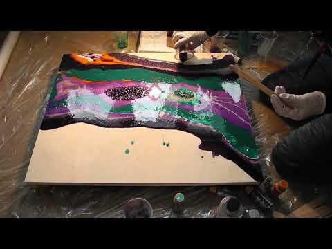 Art Epoxy Resin Geode tutorial - Рисование эпоксидной смолой жиода с камнями thumbnail