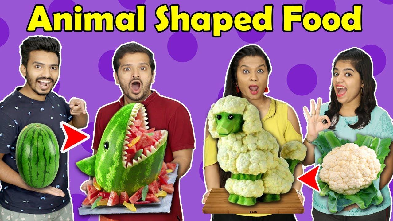 Animal Shaped Food Challenge   Funny Food Challenge   Hungry Birds