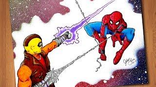 DIBUJANDO SPIDER-MAN VS SHOCKER - SPIDER-MAN HOMECOMING SPEED DRAWING [Julio Silva]