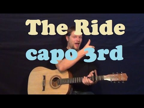 The Ride (Hank Williams Jr.) Easy Guitar Lesson Capo 3rd Fret Chord Strum How to Play Tutorial