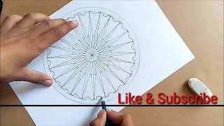 HOW to draw Ashoka Chakra with pencil