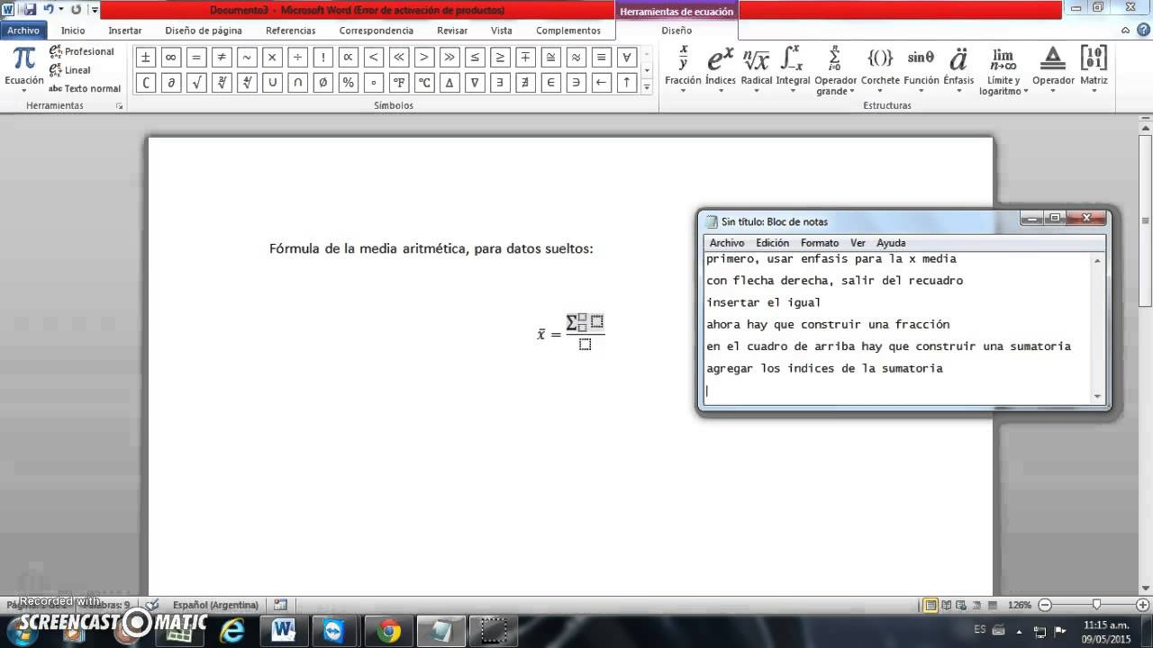 Equation Editor Media Aritmética Youtube