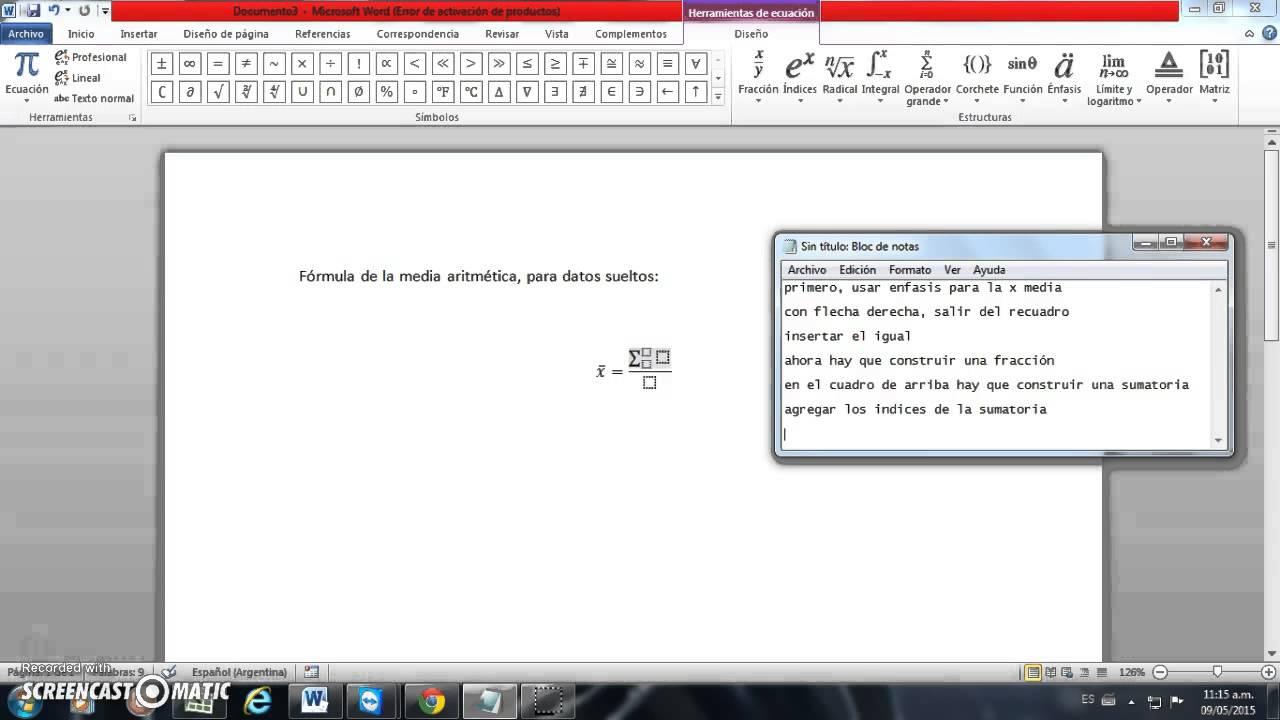 Equation Editor Media Aritmética Youtube