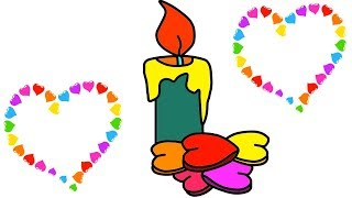 How to Draw Candle for Kids With Love Coloring Learn Step by Step Easily    Little Channel    Candle
