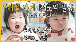 7개월아기 / 아기 간식먹기 / 치즈 먹기 / 육아브이…