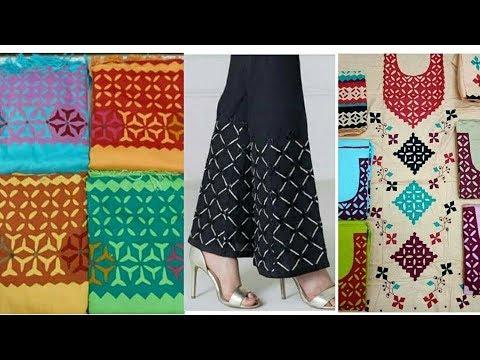 Latest aplic dress designs applique work tutorial trouser