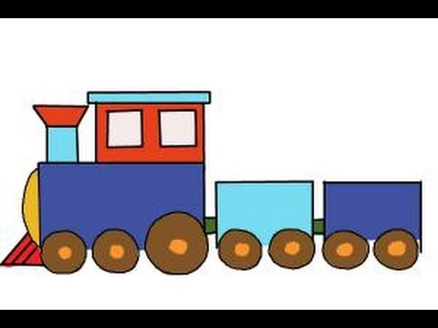 How to draw a simple train - YouTube