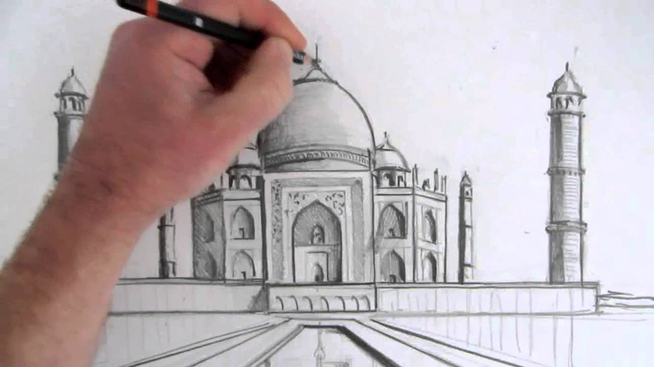 Make A Front Elevation Drawing : How to draw the taj mahal narrated step by youtube