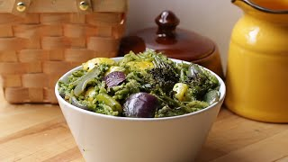 Roasted Veggies with Spinach Pesto Orzo • Tasty