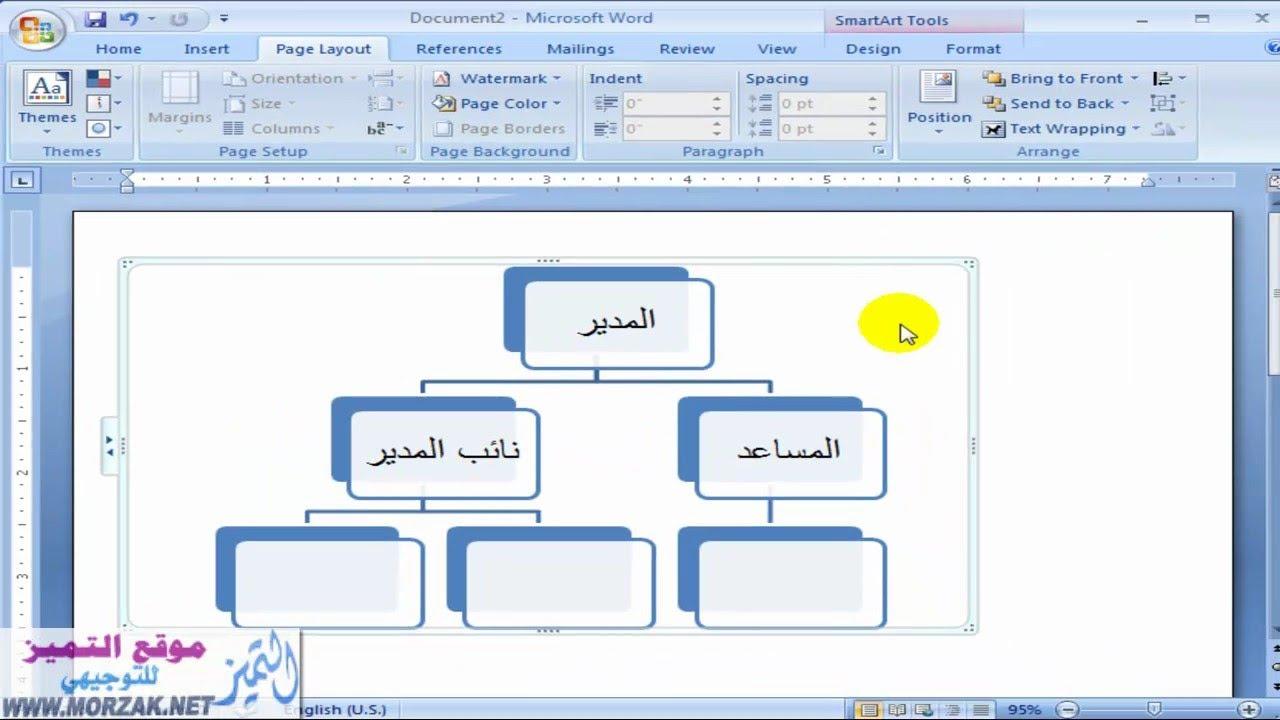 طريقة تصميم هيكل تنظيمي على الوورد 2007 بالتفصيل Youtube