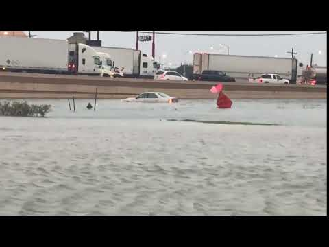 Flooding All Around I-10 In Beaumont