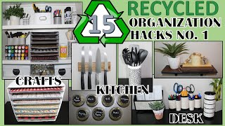 15 RECYCLED ORGANIZATION HACKS | REPURPOSED & UPCYLCED ORGANIZATION IDEAS
