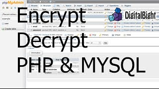 Encrypt Decrypt Hashing - PHP & MYSQL - Protect your data in your database