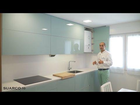 Cocina peque a moderna verde agua marina brillo forma - Cocina verde agua ...