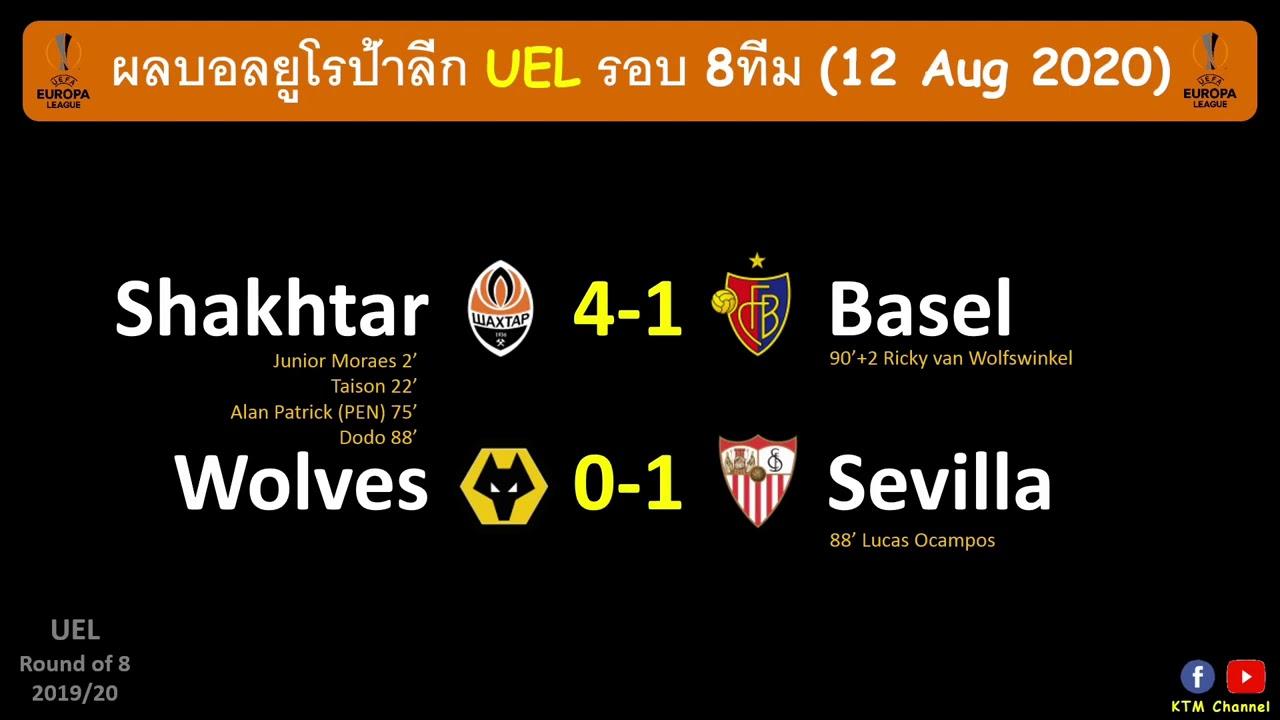 ผลบอลยูโรป้าลีก UEL รอบ8ทีม : เซบีญ่าเฉือนวูล์ฟทะลุตัดเชือก ชัคเตอร์ไล่ถลุงบาเซิลกระจุย(12 Aug 2020)