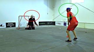 KANE VAN GATE vs. PAVEL BARBER | Blindfolded Floorball Shootout