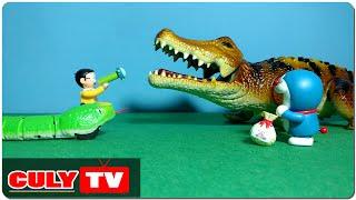 đồ chơi Doremon hài - Nobita giúp rắn con đánh cá sấu khổng lồ quậy phá Doraemon toy