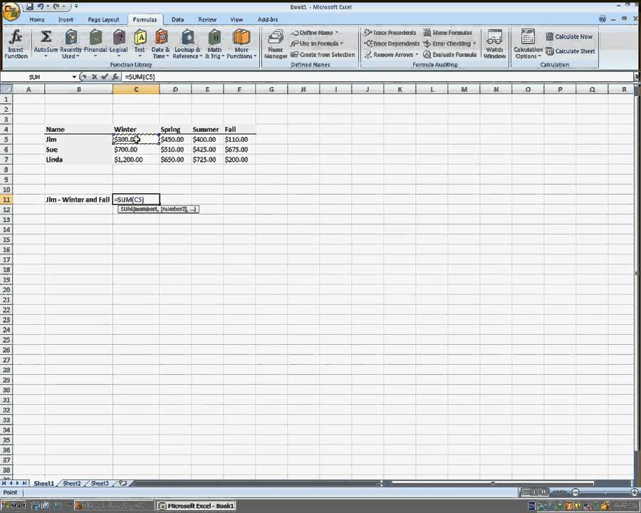 Using Auto Sum To Add Non-adjacent Cells In Microsoft Excel 2007