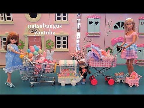 Barbie cute babies + doll stroller cart carriage pram