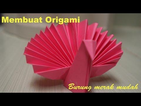 Langkah membuat origami burung merak dengan mudah