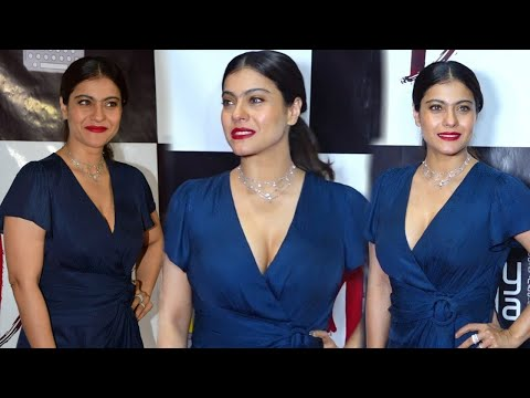 Ajay Devgan Wife Kajol Gorgeous Young Looking at Success Party of Short Film Devi with Karan Johar