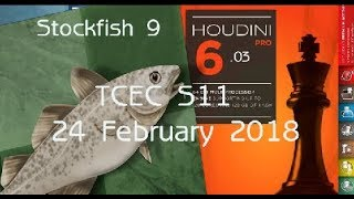 Houdini 6 vs Stockfish 9. The Wildest & Most Complex Chess Engine Game So Far