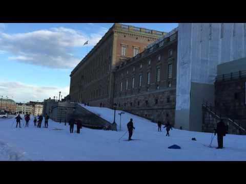 Skiing through Stockholm old town