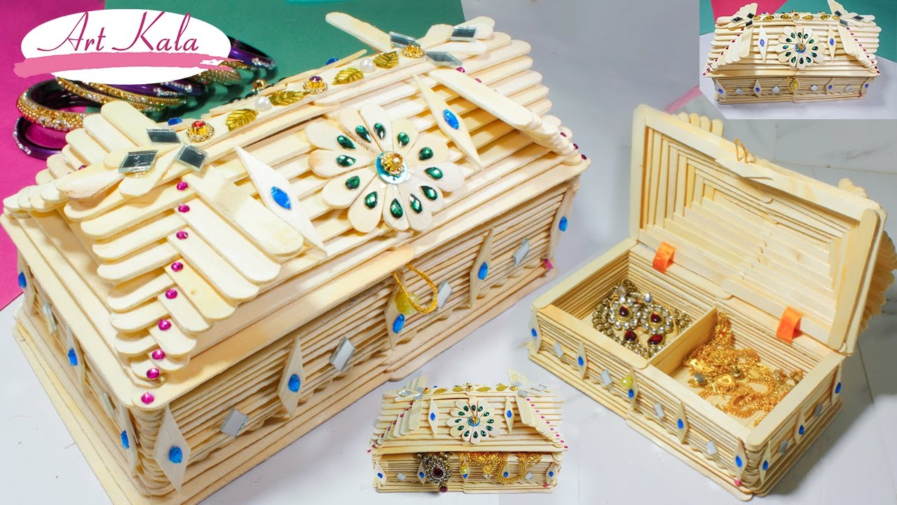 How to Make jewelry box popsicle stick crafts DIY Artkala