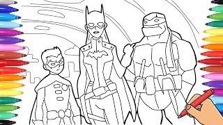 Batman Vs Teenage Mutant Ninja Turtles Coloring Pages How To Draw Batgirl Robin And Raphael Youtube