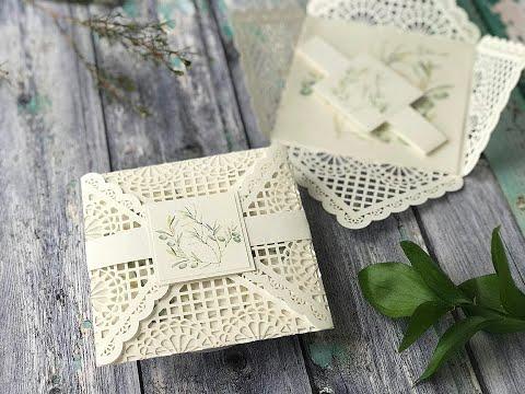 DIY Wedding Invitations - How to make pretty summer wedding invitations with olive leaf design