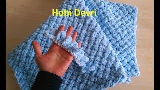 Making Easy Baby Blanket with Finger,Alize Puffy İpi Sepet (Hasır) Örgü Bebek Battaniyesi Yapımı