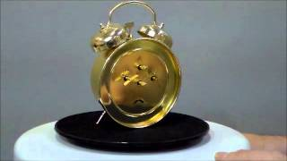Sternreiter Gold Tone Loud Twin Bell Wind Up Alarm Clock