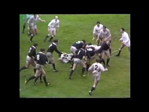 Classic rugby action as Scotland take on England at Murrayfield in 1984