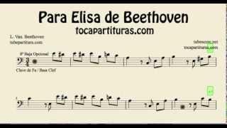 Para Elisa de Beethoven Partitura de Chelo Fagot Trombón...en clave de Fa