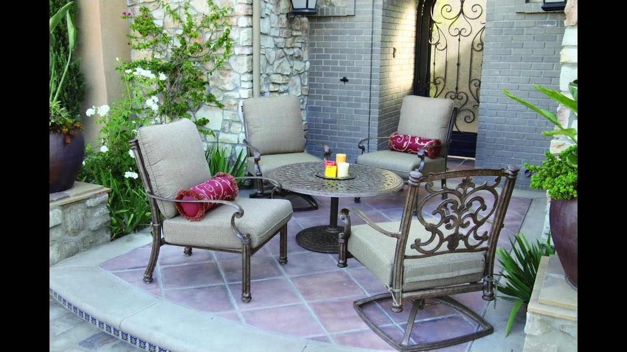 Patio Furniture Ideas   Top 10 Cast Aluminum Patio Deep Seating Set    Antique Bronze   YouTube