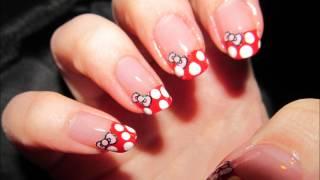 Hello Kitty / Minnie Mouse nail art tutorial
