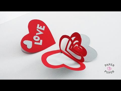 Открытка-валентинка из бумаги своими руками // How to make Valentines day card