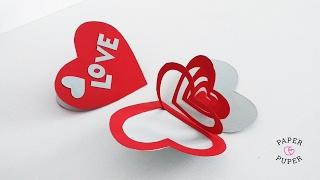 Открытка-валентинка из бумаги своими руками // How to make Valentine's day card