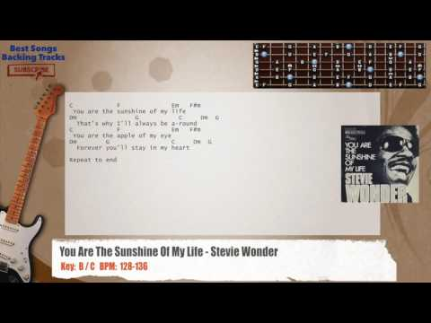 You Are The Sunshine Of My Life - Stevie Wonder Guitar Backing Track with chords and lyrics