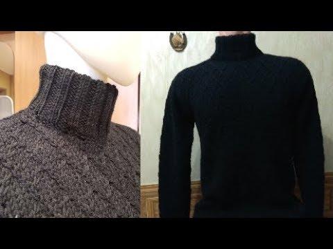 Мужской свитер спицами с узором Ромбы