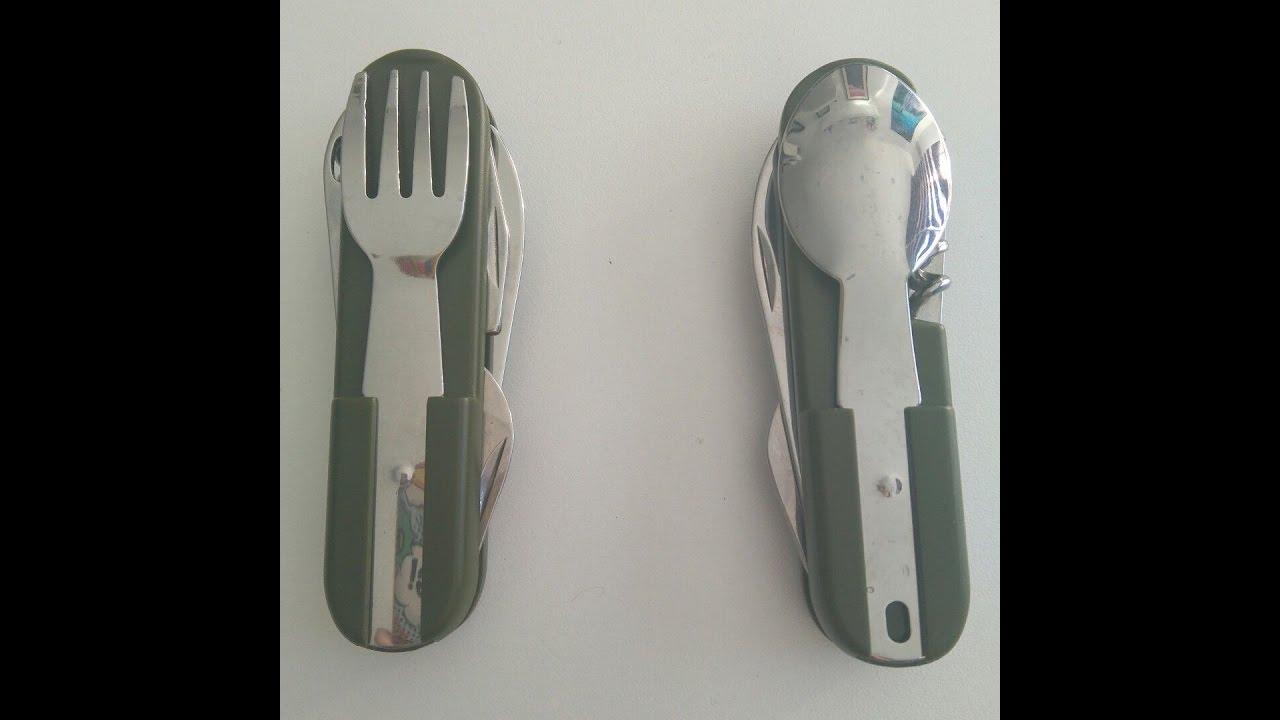 inluye funda abrebotellas cuchara Kadactive Set de cubiertos plegables de camping de acero inoxidable de 4 funciones tenedor Cuchillo