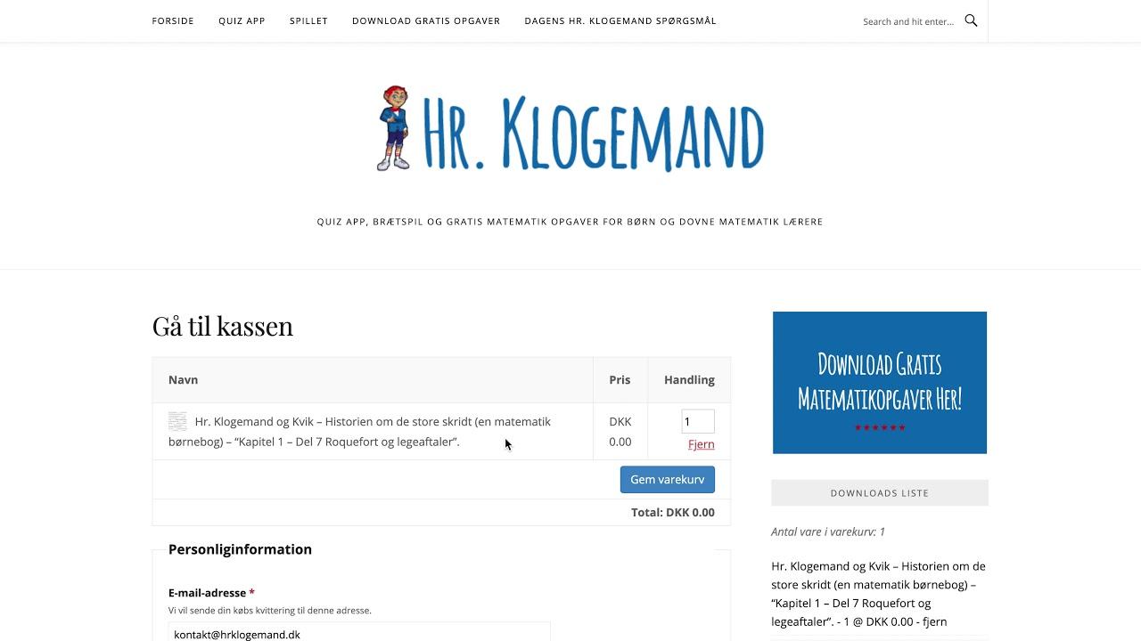 Hvordan du downloader gratis matematikopgaver på www.hrklogemand.dk
