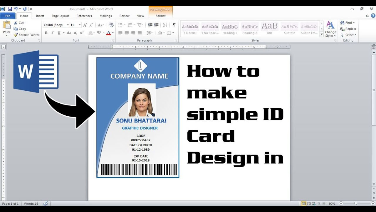 How To Make Simple Id Card Design In Ms Word But Its Very Useful Make Id Card Microsoft Office Youtube Press pass template microsoft word
